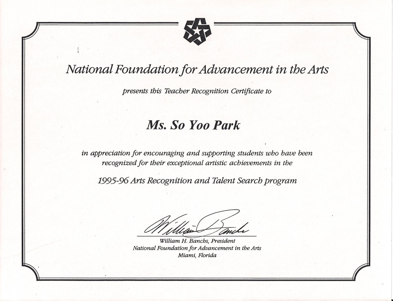 Soyoos resume 1995 06 received the certificate of teacher recognition from national foundation for advancement yadclub Gallery